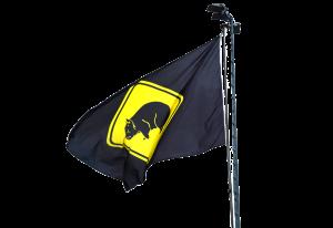 Zwarte vlag met gele Wombats logo